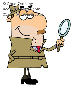 258x300 Illustration Of A Smug Private Detective Holding A Magnifying Glass