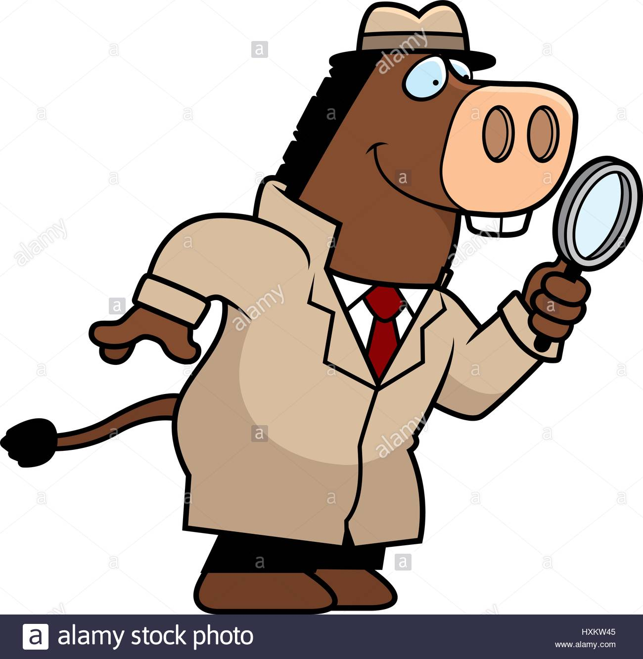 1300x1333 A Cartoon Illustration Of A Donkey Detective With A Magnifying