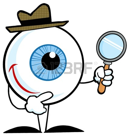 430x450 Smiling Detective Eyeball Holding A Magnifying Glass Royalty Free