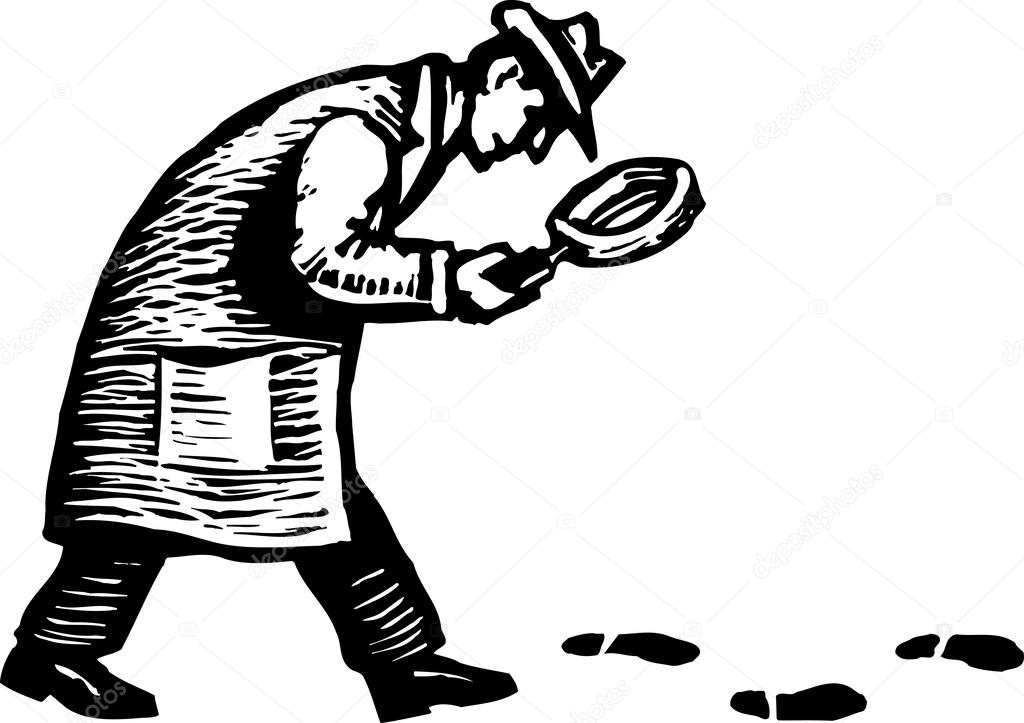 1024x723 Woodcut Illustration Of Detective With Magnifying Glass Following