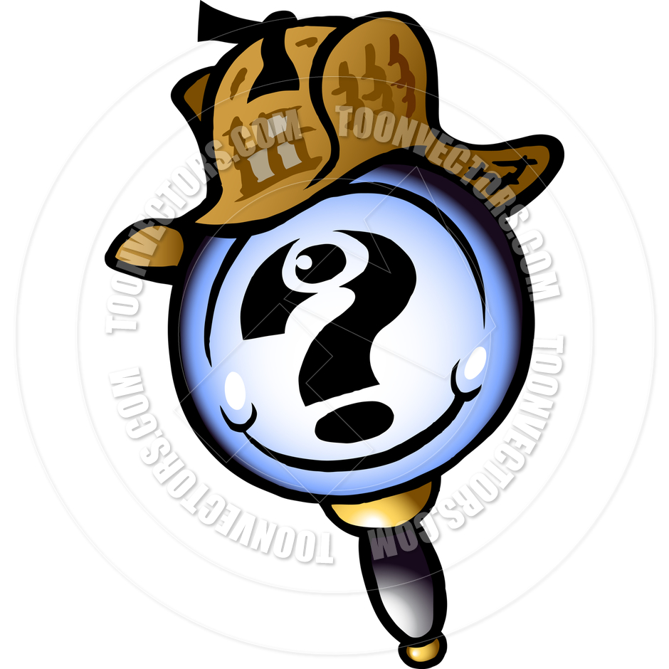940x940 Cartoon Magnifying Glass Detective By Poul Carlsen Toon Vectors