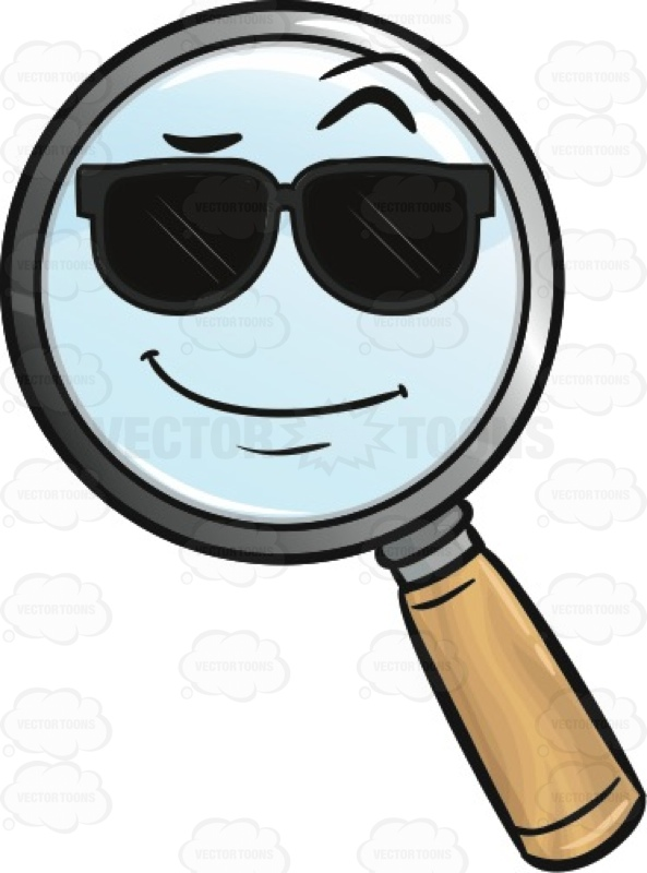 593x800 Cool Looking Magnifying Glass Emoji Cartoon Clipart