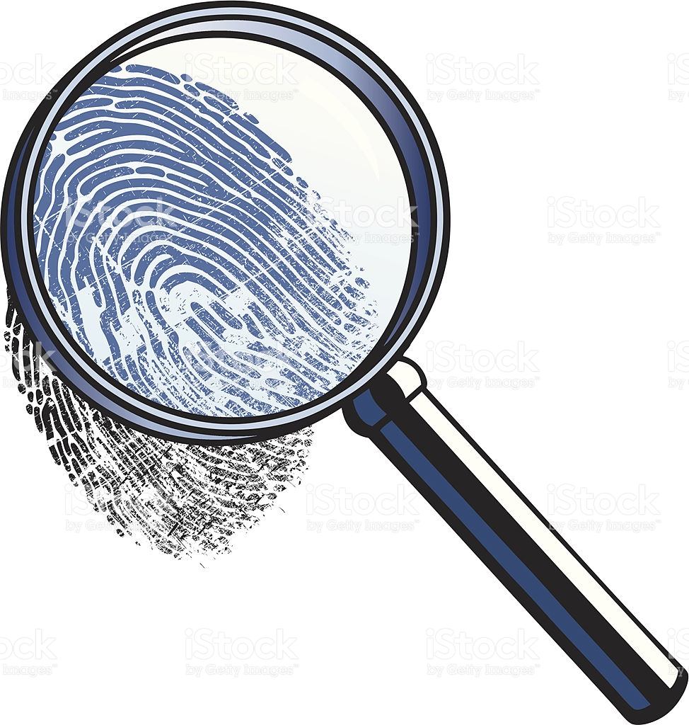 974x1024 Magnifying Glass With Fingerprint Clipart