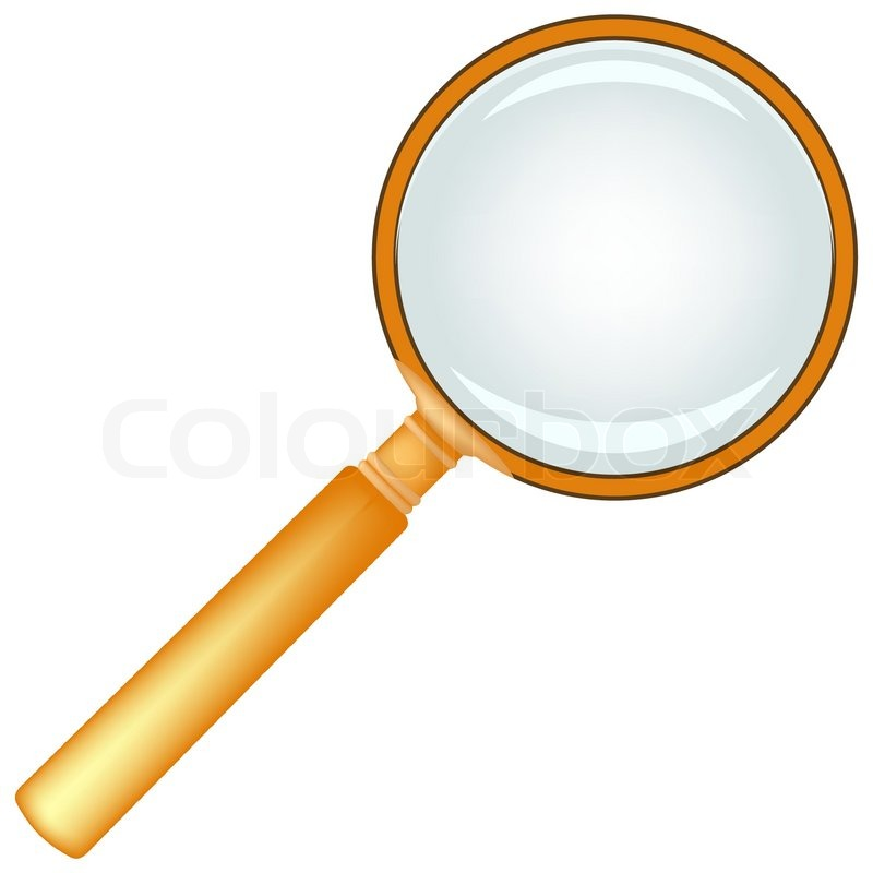 800x800 Wooden Magnifying Glass Against White Background, Abstract Vector