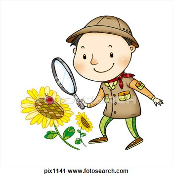 350x357 Boy With Magnifying Glass Clipart