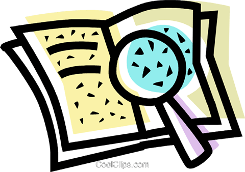 480x338 Book And A Magnifying Glass Royalty Free Vector Clip Art