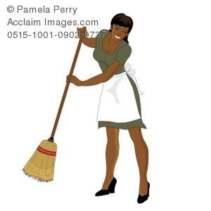 300x300 Clip Art Illustration Of An African American Maid Sweeping