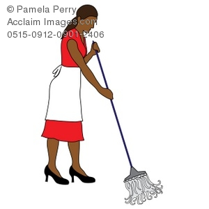 300x300 Art Illustration Of An Ethnic Maid Mopping A Floor Stock Photography