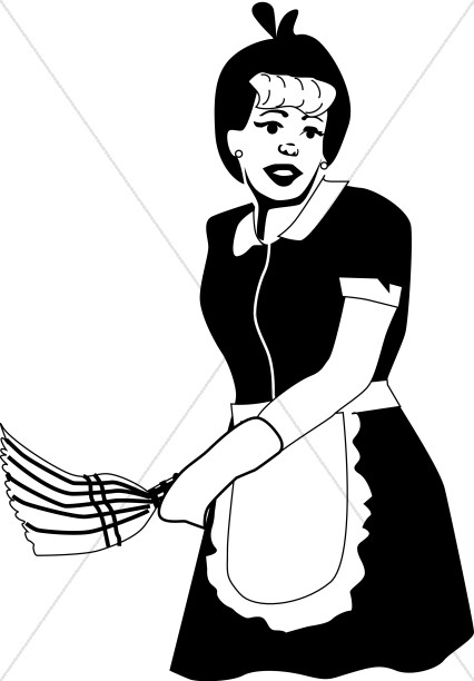 426x612 Old Fashioned Maid With Duster Church Activity Clipart