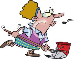 300x242 Art Image A Whistling Maid Mopping The Floor