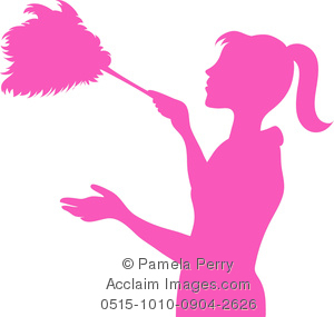 300x285 Art Image Of The Silhouette Of A Maid Dusting With A Feather Duster