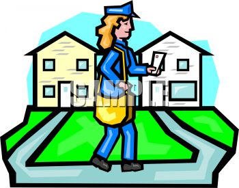 350x275 Royalty Free Clip Art Image Lady Mail Carrier
