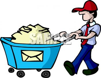 350x269 Royalty Free Clip Art Image Postal Worker Pushing A Bin Full