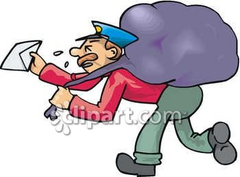 350x258 Sweating Postman Carrying A Large Bag Of Mail