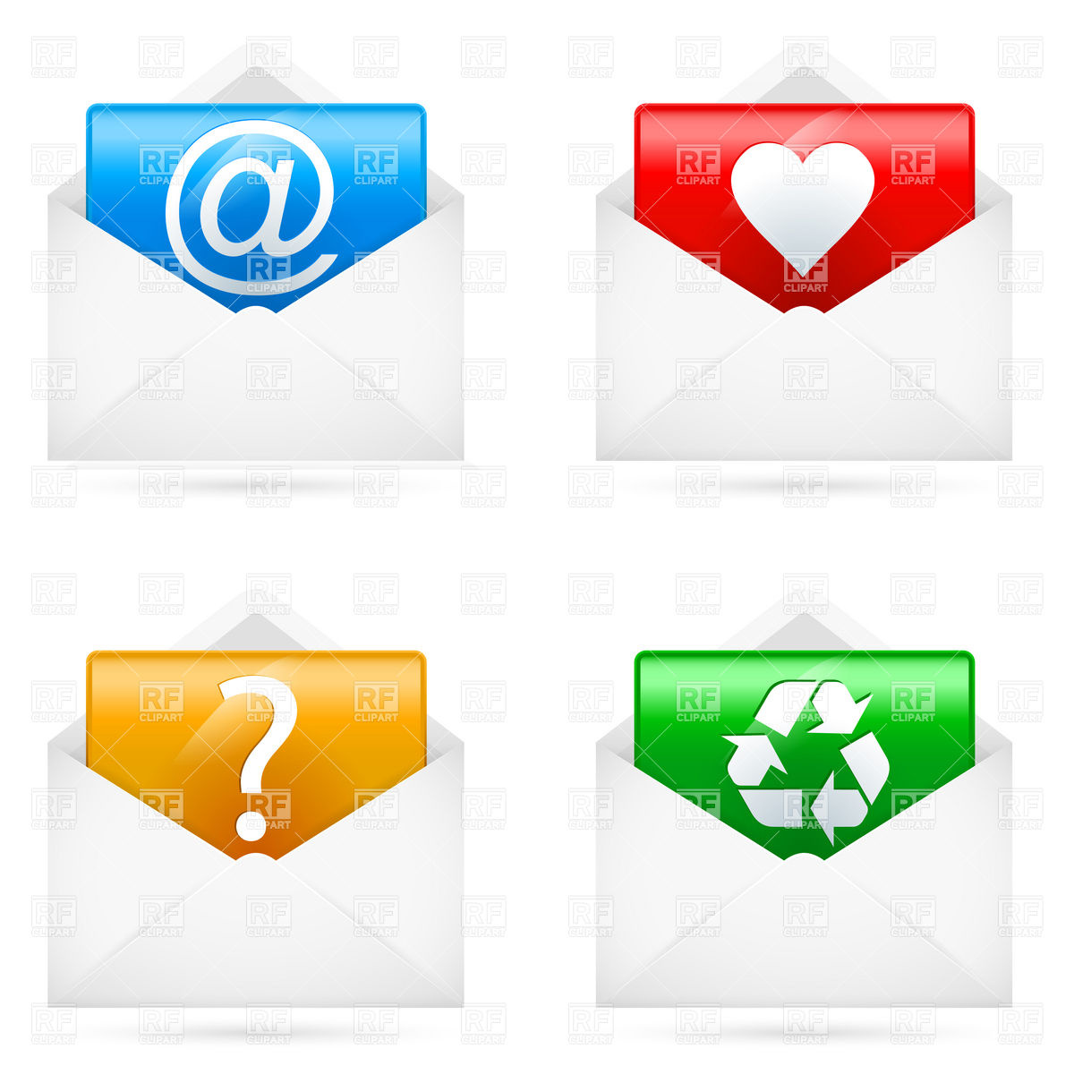1200x1200 E Mail Icons Set Royalty Free Vector Clip Art Image