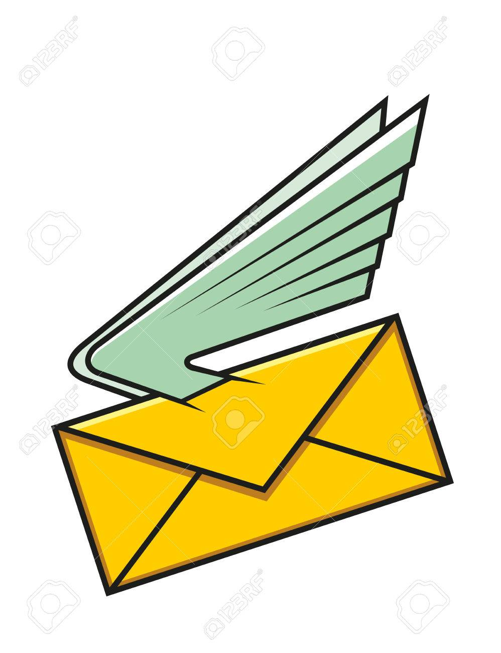 998x1300 Yellow Envelope With Wings, Symbol Of Communication, Electronic