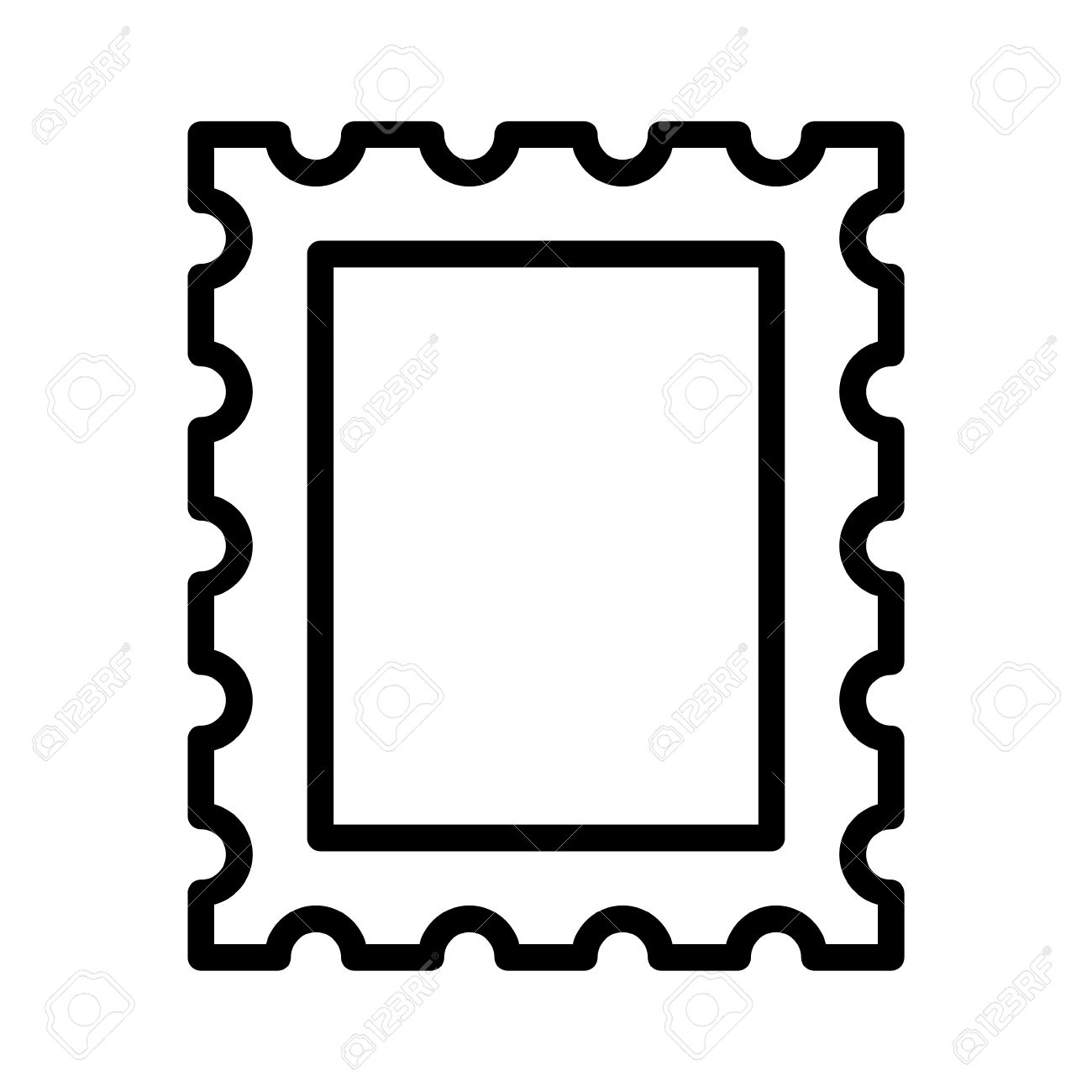 1300x1300 Postage Stamp Or Letter Stamp Line Art Icon Royalty Free Cliparts