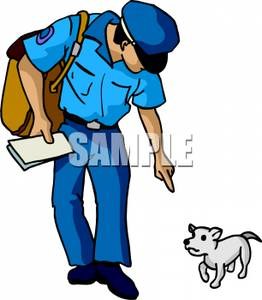 262x300 Art Image A Mailman Telling A Dog To Stay