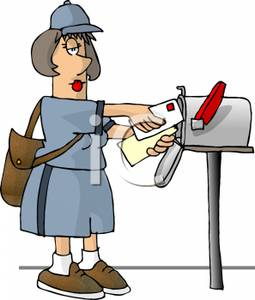 255x300 Mailwoman Putting Mail Into A Mailbox Clip Art Image