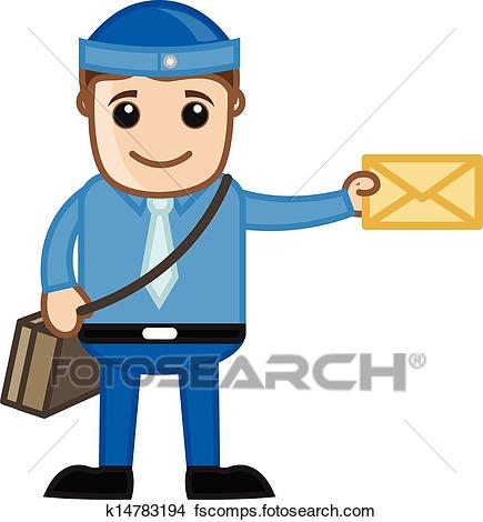 435x470 Clipart Of Cartoon Postman With Envelope K14783194