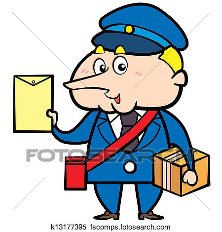 450x470 Clipart Of Cartoon Postman With Letter And Package K13177395