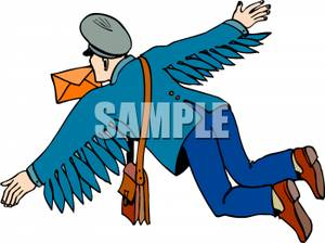 300x224 Free Clipart Image An Angel Mailman Delivering Letters