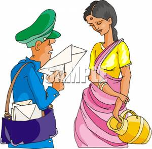300x293 Image The Mailman Delivering A Letter To A Hindu Woman