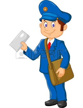 346x450 Postman Or Mailman Walking On Duty, Vector Illustration Isolated