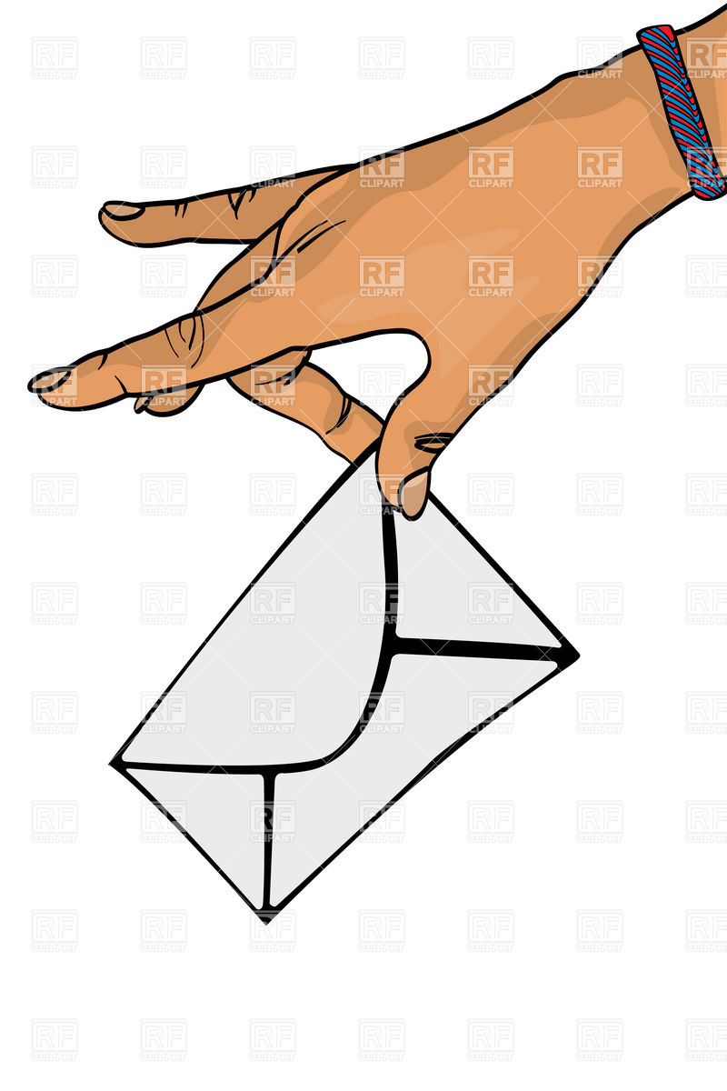 800x1200 Postman Hand With Mail Envelope Royalty Free Vector Clip Art Image