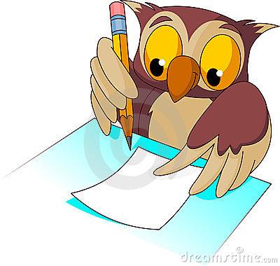 400x380 Owl Writing Clip Art