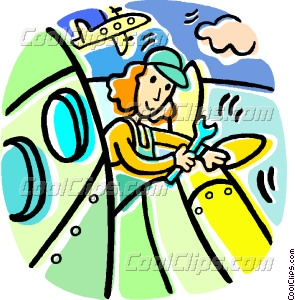 295x300 Airline Mechanic Working On A Vector Clip Art