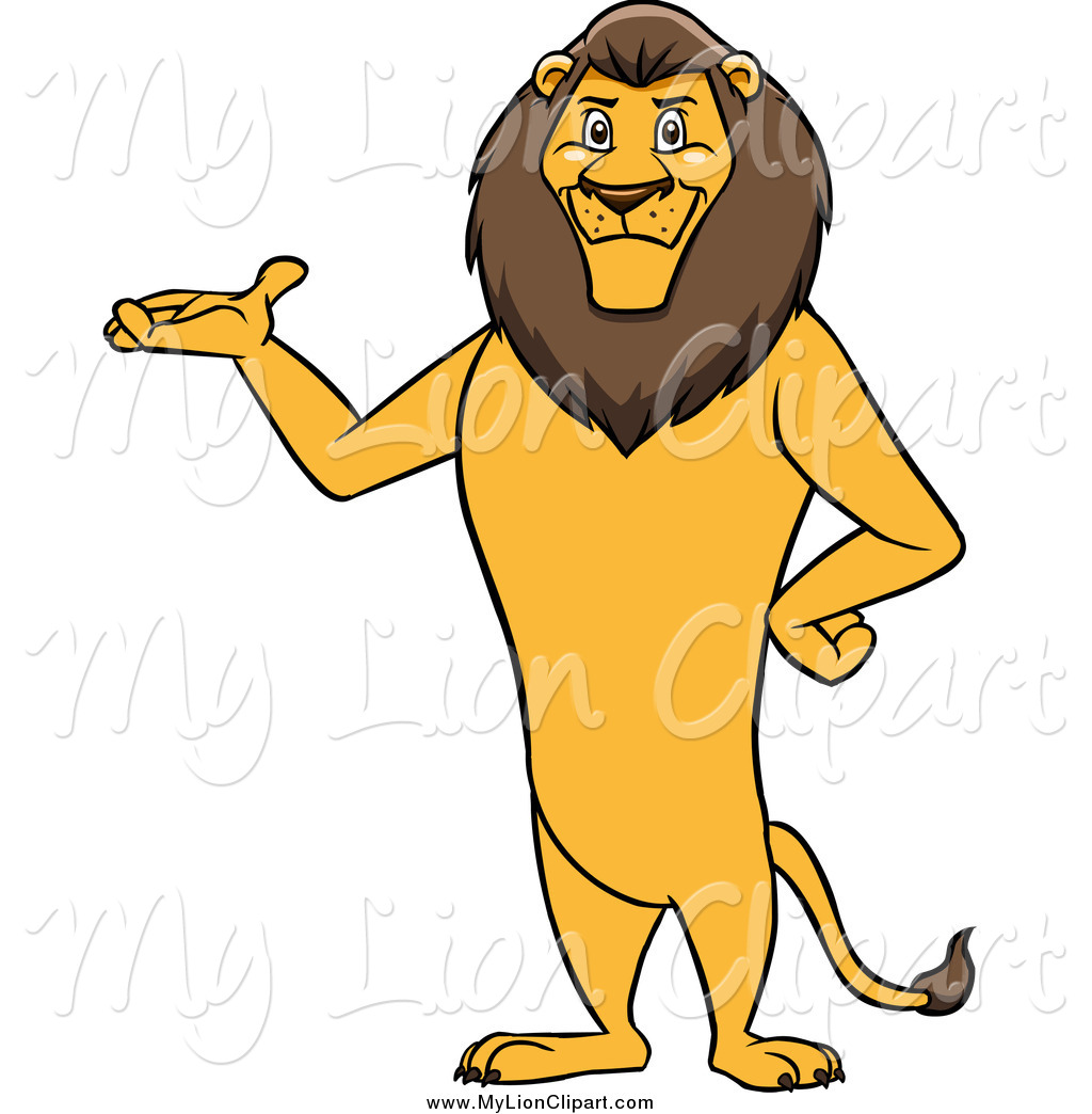 1024x1044 Clipart Of A Male Lion Standing And Presenting By Cartoon