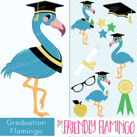 570x570 Graduation Blue Flamingo Male Clip Art, Graduate Boy Flamingo