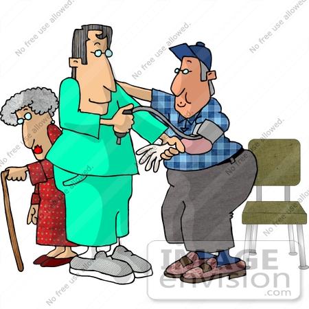 450x450 Male Nurse Taking Man's Blood Pressure Reading In Hospital,