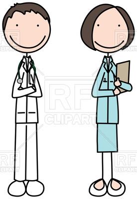 275x400 Cartoon Illustration Of Doctor And Nurse Royalty Free Vector Clip