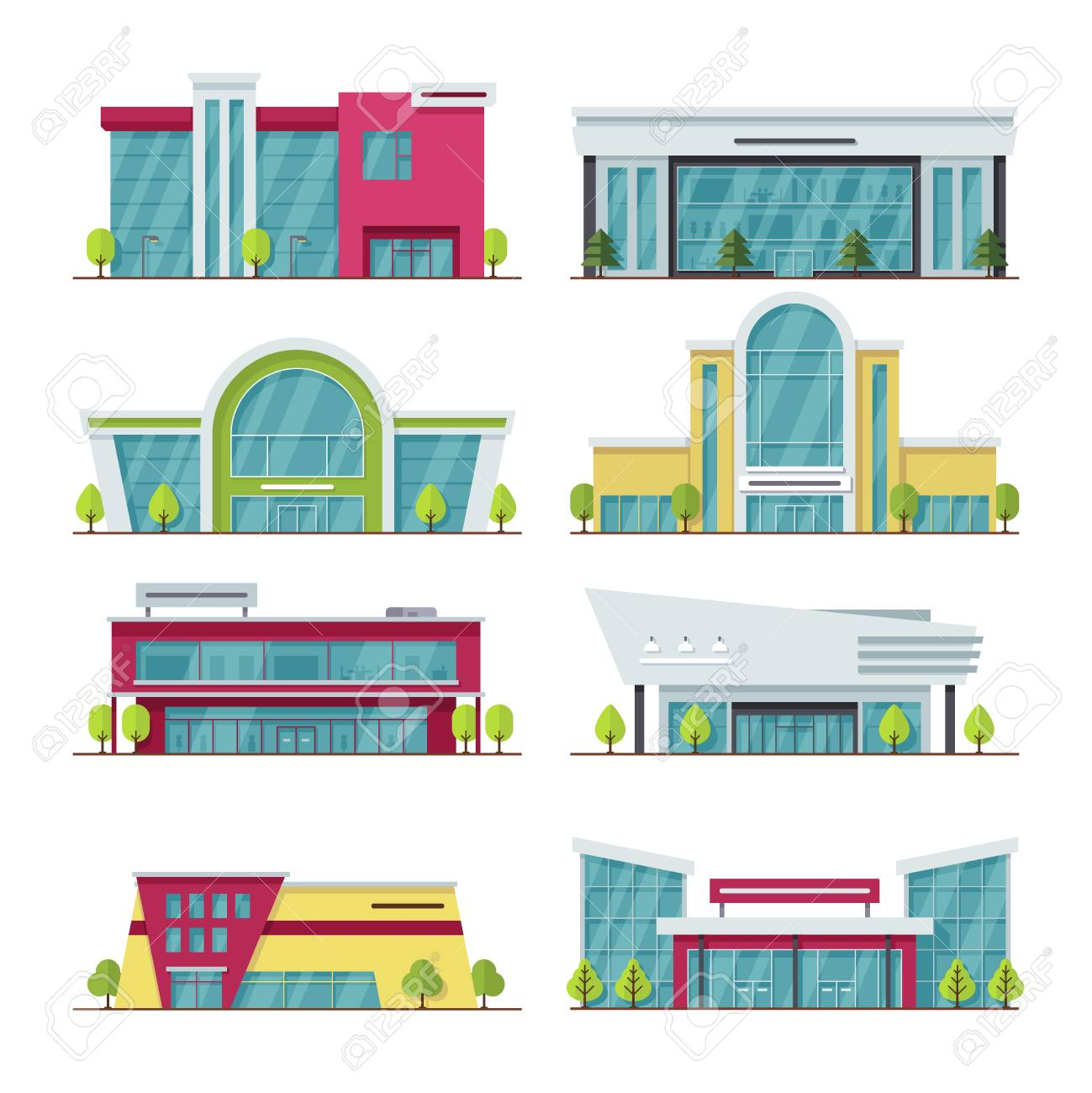 1299x1300 Contemporary Shopping Mall And Store Buildings Vector Icons