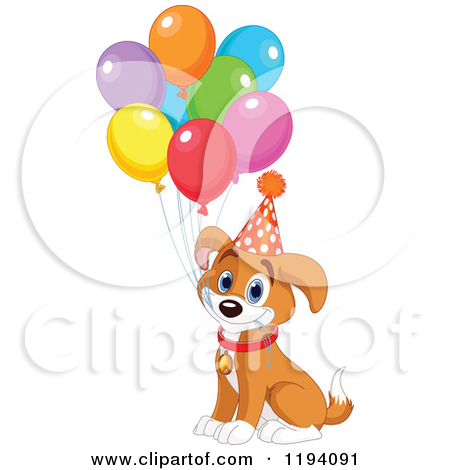 450x470 Cartoon Of A Cute Birthday Beagle Puppy Dog With Party Balloons