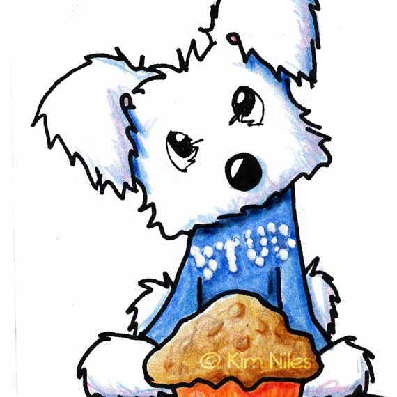570x570 Maltese Dog Art Original Aceo Cartoon Stud Muffin By Kiniart
