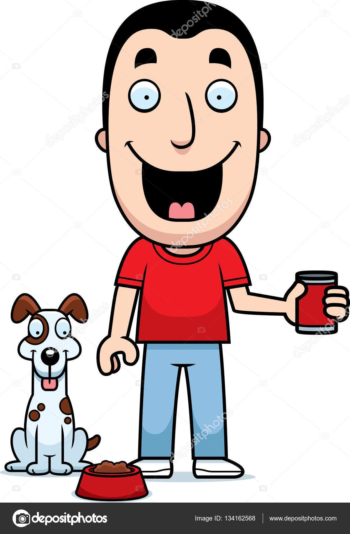 1117x1700 Cartoon Man Feeding Dog Stock Vector Cthoman