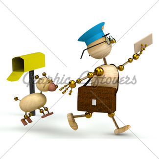 325x325 Cartoon Postman Running Away From A Dog Gl Stock Images