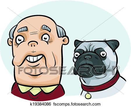 450x370 Clip Art Of Man Looks Like Dog K19384086