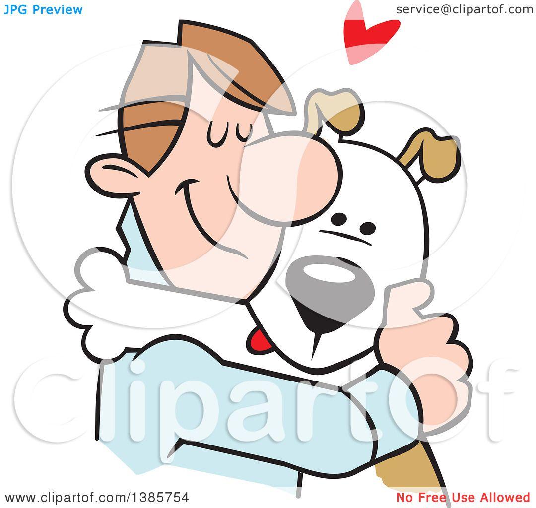 1080x1024 Clipart Of A Cartoon Caucasian Man Hugging His Dog