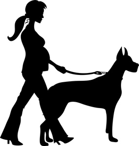 285x300 Clipart Walking The Dog