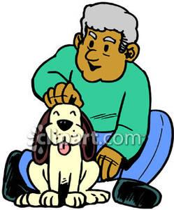 249x300 Man Petting His Dog
