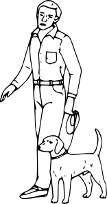 156x296 Man With Dog Clip Art