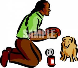 300x262 Native American Man Feeding His Dog