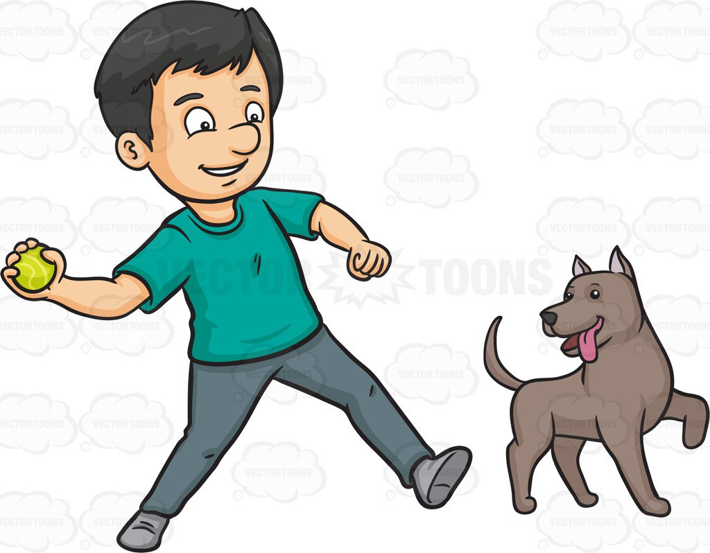 1024x798 A Man Throwing A Ball To Play With His Dog Cartoon Clipart