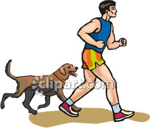 300x256 Running With His Dog Royalty Free Clipart Picture
