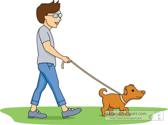 550x411 Walking Your Dog Clipart