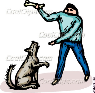 306x300 Man With A Dog And A Bone Vector Clip Art